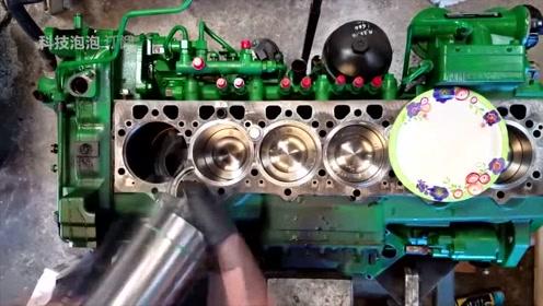 修车大神翻新修复拖拉机发动机,实力炫技看着就是过瘾
