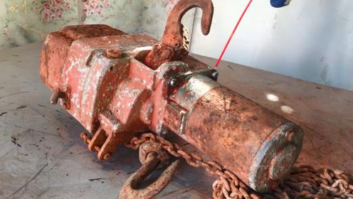 翻新一台50年前的电动葫芦,感觉从土里面挖出来的一样,质量真好