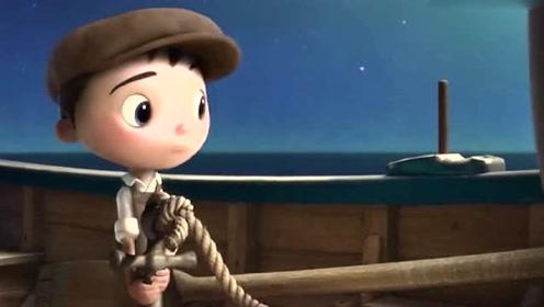 卡通动画动漫短片:小男孩爬上高梯,结果不小心飘到月球上