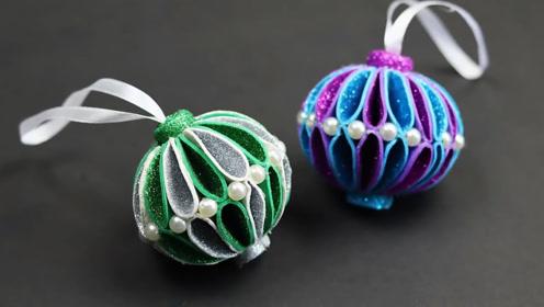 饰品DIY-漂亮的泡沫球圣诞挂件