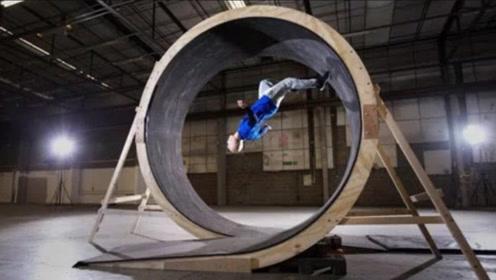 速度足够快就能忽略地球引力,男子组团测试,你猜在圆形跑道能奔跑一圈吗