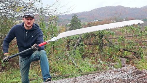 世界上最大的折叠锯,用起来威力有多大?小哥亲自测试