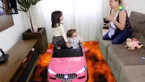 萌娃亲子互动游戏!小萝莉坐汽车对面拿东西!培养动手能力!