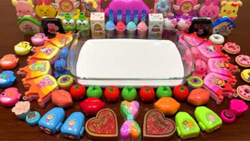 DIY史莱姆教程,爱心亮粉泥+番茄压力球+蝴蝶结珍珠泥+皇冠彩泥