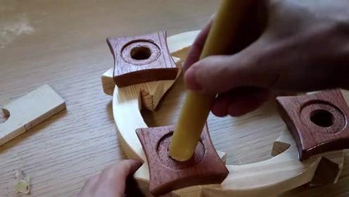木工师傅锯了个烛台出来,值多少钱不好说,是真漂亮!