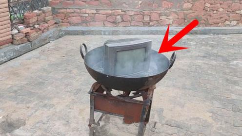 印度小伙脑洞清奇,将电视机放进油锅中油炸?网友:太能作死了
