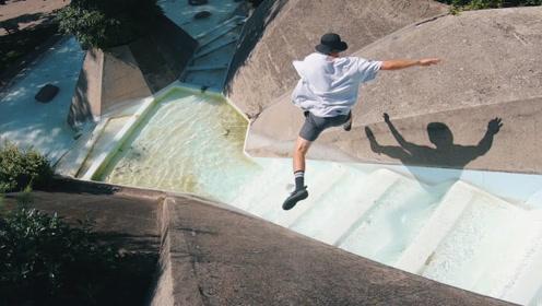 小伙上演水上跑酷,这种玩法你见过吗?镜头记录精彩全过程