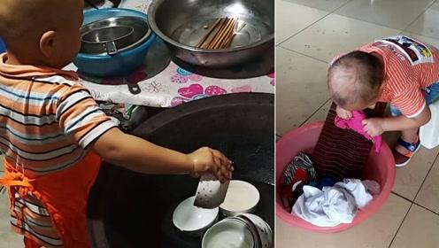 3岁男童做家务动作太娴熟,很多人看过都惊讶:好心疼