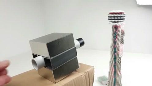 实验,两块强磁铁+两根方管=磁力炮