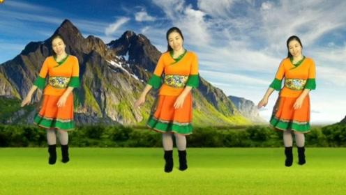 简画广场舞《梦中的天堂》心灵鸡汤的优美藏舞正面展示