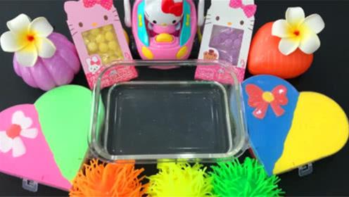 DIY史莱姆教程,爱心撞色彩泥混合压力球、彩色小球、凯蒂猫饰品