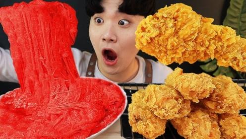 """大胃王吃超级火辣的""""芝士"""",搭配炸鸡腿吃得太过瘾,网友:怎么做的呢?"""