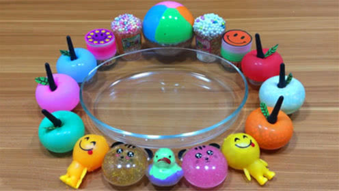 DIY史莱姆教程,苹果气球混合雪花泥、珠光泥、彩泥、小饰品