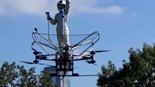 民间牛人发明小型飞行器,载人飞行器演示飞行