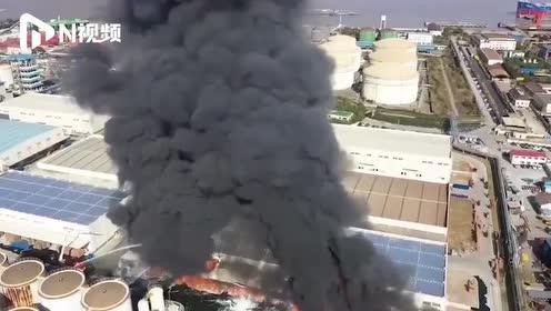 直击上海一粮油公司火灾现场:浓烟升至高空,无人员伤亡