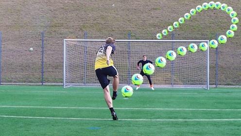 将足球充满氦气会怎样?一脚踢出去后,呈现的轨迹实在神奇!