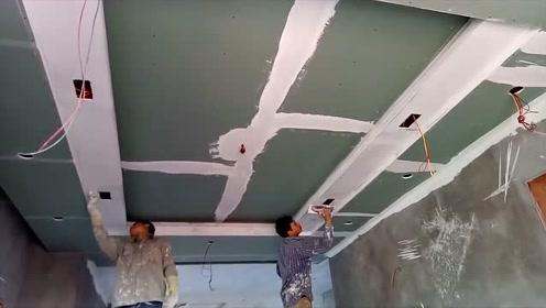 看看日本小哥装修吊顶,原来是这样施工的,专业师傅一会就弄完了