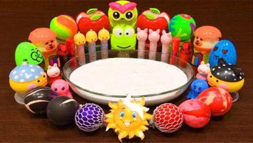 DIY史莱姆教程,彩虹解压球+亮彩粉+牛奶史莱姆+蛋壳饰品