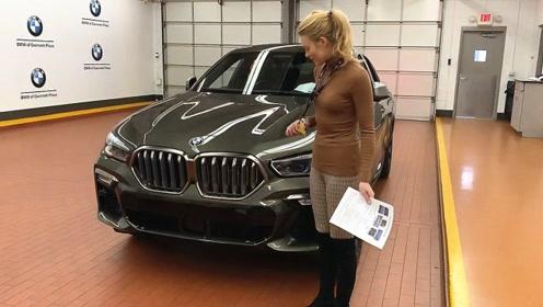 女土豪新买的2020款宝马X6,按下钥匙看到发光的格栅,霸气开始
