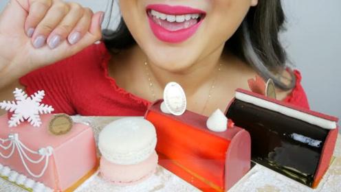美女吃巴黎高级甜点,露华浓口红也很亮眼,有没有吸引到你?