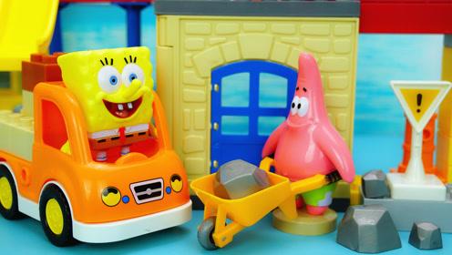 海绵宝宝和派大星在建筑工作站搬运石头