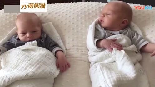 刚出生不久的双胞胎, 一个睁眼睛, 另一个却闭着眼装睡, 太可爱了