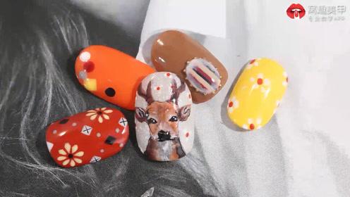 圣诞节美甲:气质橘咖 可爱麋鹿