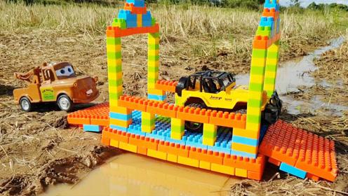 工程车玩具,乐高积木搭建,积木桥益智趣味启蒙