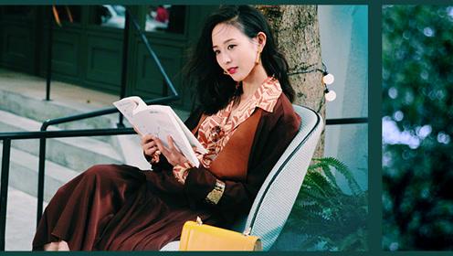 焦糖色针织内搭印花衬衫 与张钧甯一起享受自由时光