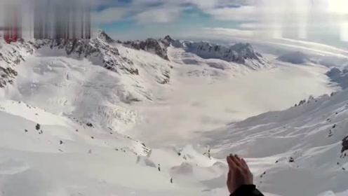 大神第一人称视角雪山巅峰滑雪速降,作死极限运动总有红牛赞助