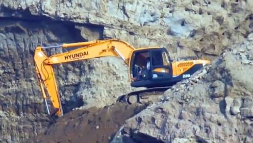 陡峭又危险的悬崖,挖掘机是如何开上去的?老司机说出答案
