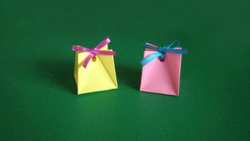 儿童手工折纸,迷你礼品袋,一张正方形的纸,简单几步就能折出来图片