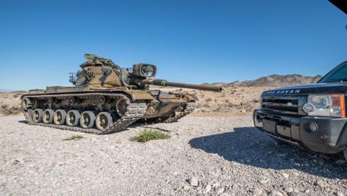 美陆军第四代主战坦克一炮能够打爆路虎吗?一炮下去,场面震撼