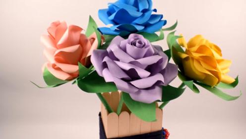 玫瑰纸花制作方法,折纸玫瑰花,折纸艺术
