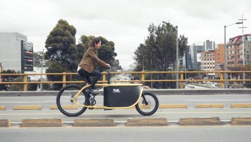 老外设计货运自行车,超大的筐子专门拉东西,还不怕淋雨