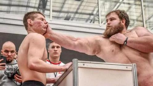 俄罗斯的扇耳光大赛,拼的就是力量,重达300斤的选手夺冠!