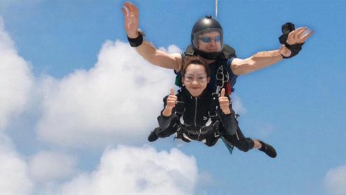 趣玩飞行美女体验官,广东阳江体验4000米双人高空跳伞!