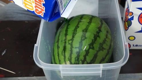 西瓜泡在绿色果汁里,果肉会变成绿色吗?切开发现我错了