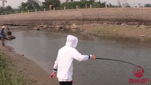 海边排水口钓最笨的鱼,3秒上鱼不夸张!连杆中鱼真是太过瘾了!
