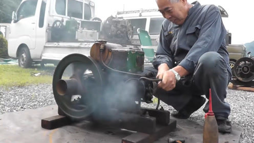 老头珍藏1940年发动机,启动那一瞬间,排气管霸气了!