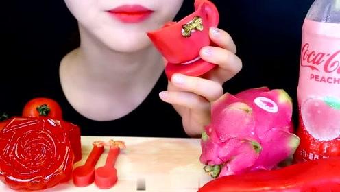 红色的吃播:果冻、番茄、火龙果、辣椒