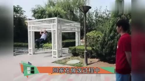 魏大勋爸爸像个老小孩,拖地脚滑也能玩起来,厨房变大型蹦迪现场