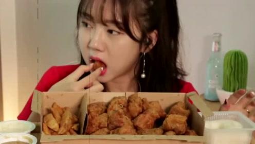 妹子吃酥脆炸鸡,酥脆嫩香,可口咸鲜很美味!