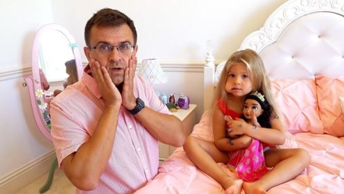 小萝莉牙疼救助爸爸,爸爸带她去看牙医,小朋友爱护好自己的牙齿