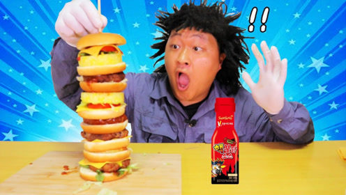 高达40厘米的手工汉堡,抹上火鸡面辣酱,喝口可乐太爽了!