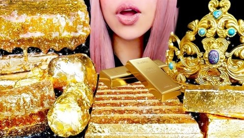 """美女吃""""黄金""""甜点,大口大口吃超甜,这吃法真是没谁了"""
