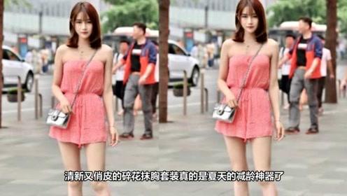 如花似玉的小姐姐,一条粉红色的连衣裙,时尚清新靓丽气息