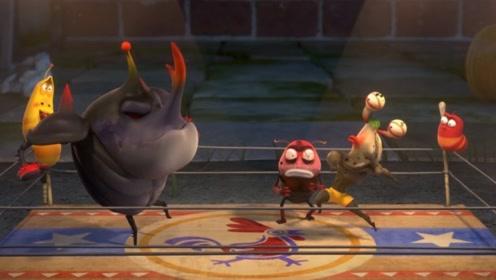 5只虫子在擂台上切磋,屎壳螂被一脚踹出了台下