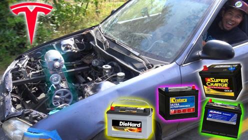 电动车的电瓶可以驱动汽车吗?牛人将六个电瓶串联后,惊喜开始!
