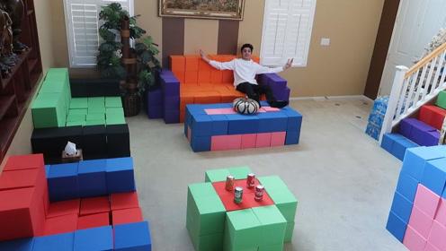 老外用海绵搭建整个房间,各种家具都有,网友:坐上去感觉如何?